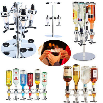 Rotary Wall Mounted 6 Bottle Stand Optic Dispenser Drinks Wine Steel Bar Butler