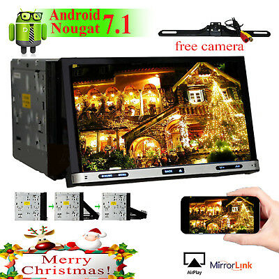 "2 Din 7"" Android 7.1 GPS Flip Car Stereo Radio DVD Player WIFI 4G BT+MAP+camera"