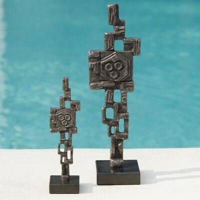 """4.75"""" L  Abstract Robot Large Inspired Modernism Movement Cast Iron Black Marble"""