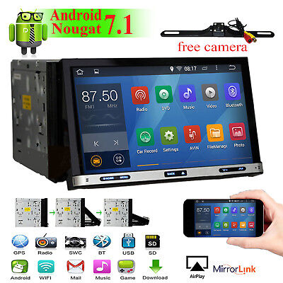 "7"" Android 7.1 2Din Car Stereo DVD Player BT Wifi In Dash GPS Navi Universal CAM"