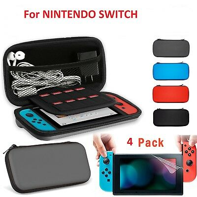 4pc Kit For Nintendo Switch Travel Carrying Case Bag+Clear Screen Protector Film