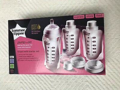 New Tommee Tippee Pump and Go Breast Milk Starter Set Adapter Bottle 20 Pouches