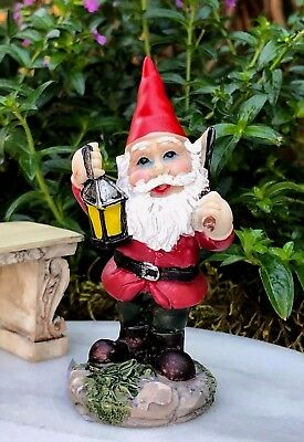 Miniature Dollhouse FAIRY GARDEN Accessories ~ Red Cap Gnome with Lantern & Ax