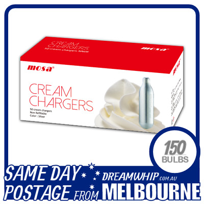 Same Day Postage Mosa Cream Bulbs 50 Pack X 3 (150 Chargers) Whipped
