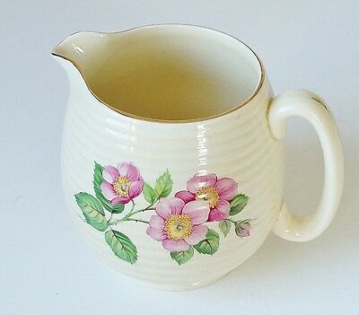 Beswick Cream Ridged Jug Pitcher Vintage Wild Rose Roses Shabby Chic Pottery