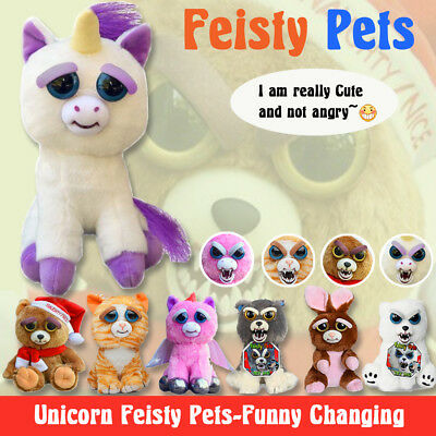 Feisty Pets Soft Plush Stuffed Scary Face Toy Animal With Attitude Kid Xmas Gift