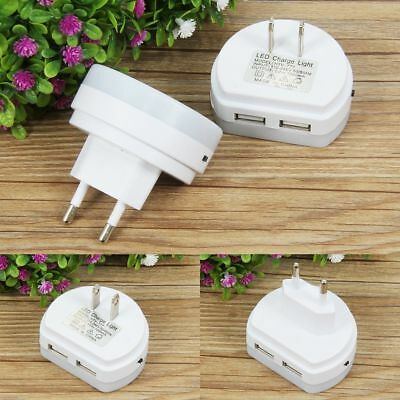 White LED Night light Dual USB Wall Charger Plug in Dusk to Dawn Sensor Lamp