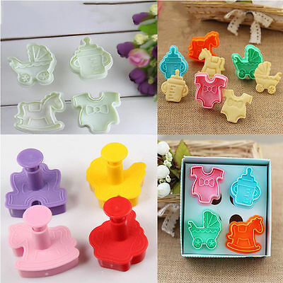 1Set 3D Baby Clothes Shower Hand Press Stamp Biscuit Cookie Plunger Cutter Tools