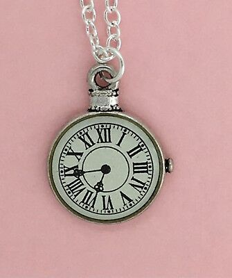 Silver Plated Necklace - Antique Style WATCH FACE Pendant - Alice in Wonderland