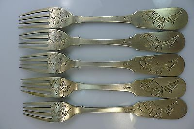 A Lot Of Five Highly Decorated Old Russian 84 Solid Silver Forks