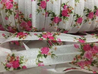 """1m/5m Pink Roses on White FOE 5/8"""" Fold Over Elastic Head Band Hairties"""