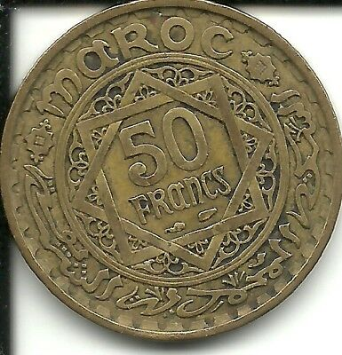 Morocco 50 Francs 1952 - AH 1371  KM 51 (French PROTECTORATE)