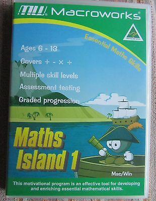 MACROWORKS MATHS ISLAND 1 CD Maths Skills Learning Game Children/Kids Ages 6-13