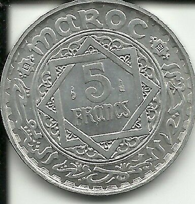 Morocco 5 francs 1950 AH 1370  Y#48  (French PROTECTORATE)
