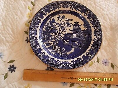 large dinner plate Burleigh Ware blue willow with gold trim