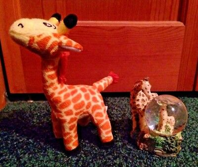 Pair of Unique Giraffe Pieces - Water Globe & a Cute Plush Animal by Scholastic