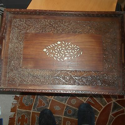 indian wooden carved and inlayed tray(modern)