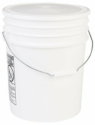 Hudson Exchange 90 Mil HDPE Bucket with Handle and Lid, 5 gal, White, 6 Pack