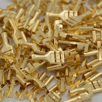 100 Pcs 6.3mm Gold Brass Car Speaker Female Spade Terminal Wire Connector BBB