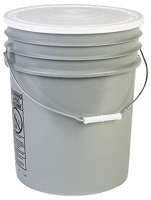 Hudson Exchange 90 Mil HDPE Bucket with Handle and Lid, 5 gal, Gray, 6 Pack