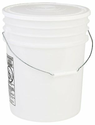 Hudson Exchange 90 Mil HDPE Bucket with Handle and Lid, 5 gal, Natural, 6 Pack