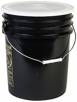 Hudson Exchange 90 Mil HDPE Bucket with Handle and Lid, 5 gal, Black, 6 Pack