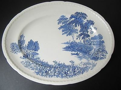 Large blue and white vintage Swinnerton's platter. 'The Ferry' pattern.