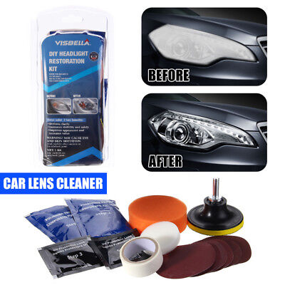 Car Vehicle Motorcycle Headlight Lamp Lens Cleaning Restoration Kit DIY Tool