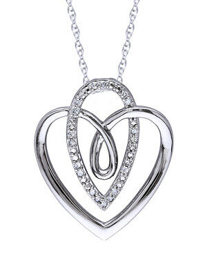 1/10 Ctw Natural Diamond Heart Pendant Necklace 14k Gold Over Sterling Silver