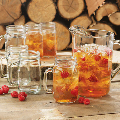 Set of 6 Drinking Mason Jar with Handle 16 oz Libbey Glass 97084