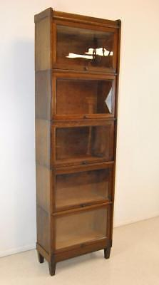 "Five Section 3/4 Size Quarter Sawn Oak Barrister Bookcase 26"" By Weiss"