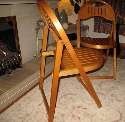 Pair of Retro Russian Soviet Wooden Folding Chair signed