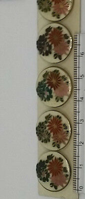 SATSUMA Buttons. Antique set of 6. Hand painted Flowers Leaves 18mm JAPANESE.
