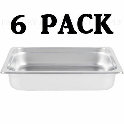 "6 PACK Half Size Stainless Steel 2 1/2"" Deep Steam Prep Table Chafing Dish Pan"