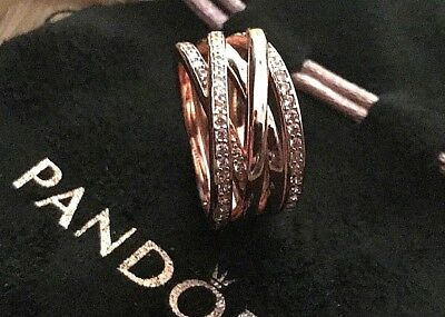 Genuine Pandora Entwine Ring 180919Cz, Rose Gold,various Sizes, Box And Gift Bag