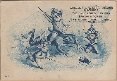 Victorian Trade Card-Wheeler & Wilson Sewing Machine-Chicago. IL-Pixies-Frog-Fly