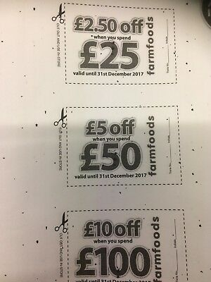 FARMFOODS VOUCHERS COUPONS x 2 LOTS BOTH VALID UNTIL 31st DECEMBER 2017
