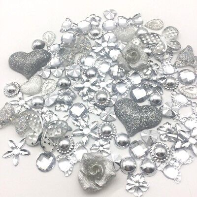 100 Embellishments Silver Tone Cabochon Beads Flatbacks Gems Craft Cardmaking