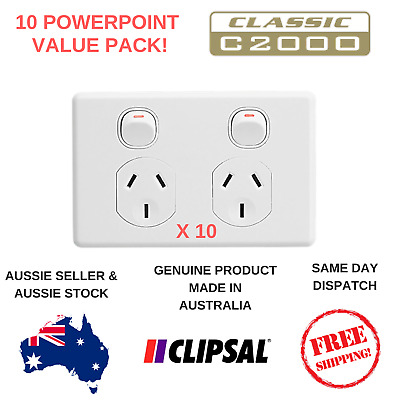 10 x Clipsal Classic Double Powerpoint C2000 10A GPO Twin Switch - C2025-WE