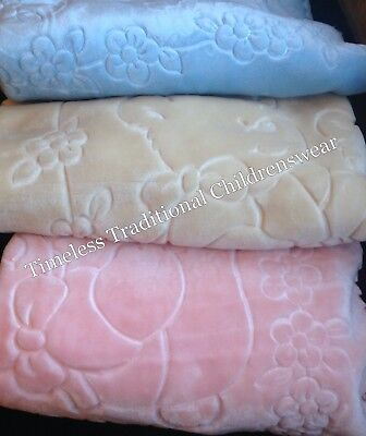 New In Luxury Spanish Baby Teddy Bear Blanket By Copito Cream, Pink Or Blue