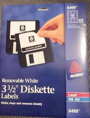 "Avery Media Labels AVE6490, 3-1/2"" Diskette Labels 15 labels per sheet, 375"
