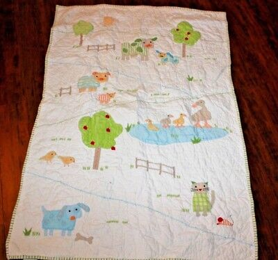 Pottery Barn Kids Embroidered FARM  Animals Reversible Baby/Toddler Quilt