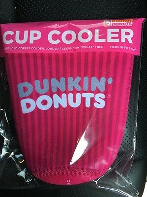 Dunkin Donuts 2017 Cup Cooler Koozie MEDIUM 24 oz. Pink New ICED Coffee/Tea