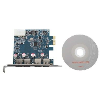 2X(USB 3.0 4-Port PCI-Express PCI E-Karte Super Speed 5 Gbps mit 4 Pin Pow I6 GJ