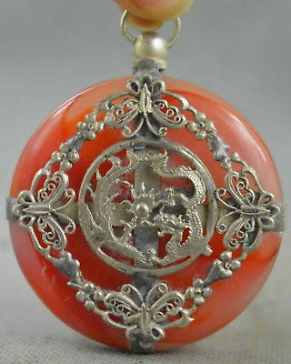 Collectable Handwork Old Miao Silver Carving Dragon Inlay Jade Exorcism Pendant