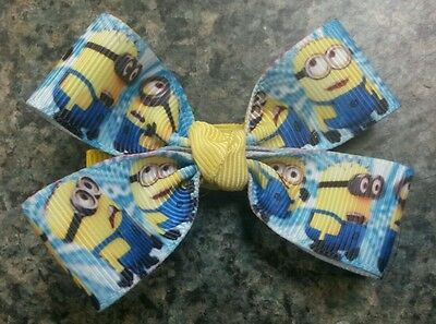 Lot of 2 Minions hairbow toddler girl alligator clip blue yellow despicable me