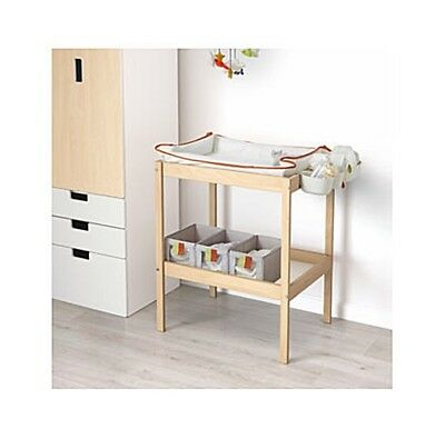 Changing table SNIGLAR Beech/white 72x53 cm Solid beech
