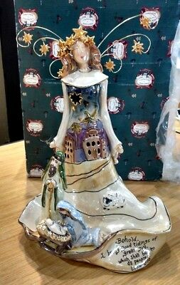 Clayworks Goldminc Christmas Nativity Angel Tea Light Holder Nib