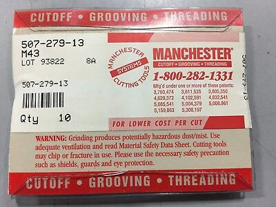 Manchester 507-279-13 M43 Cutoff-Grooving-Threading Inserts ***NEW Pack of 10***