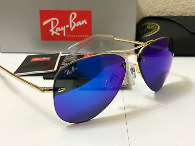d4f2e453cdb RAY BAN RB3449 001 55 Highstreet Sunglasses Gold Frame Blue Mirror Lens  Size 59M